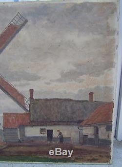 Superb Old Table Oil On Canvas Moulin De L'yser Bambecque