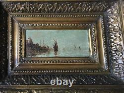 Table Ancient 19th Orientalist Marine Landscape Signed Wood Oil Framed