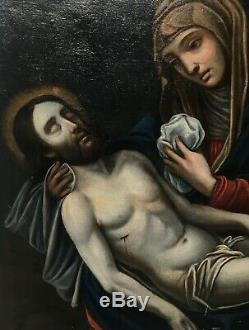 Table Ancient Religious, Oil On Canvas, Virgin And Christ XVII