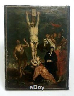 Table Ancient Religious, Oil On Vellum, Religious Scene, XVIII