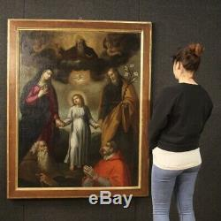 Table Ancient Religious Oil Painting On Canvas With Frame 700 18th Century