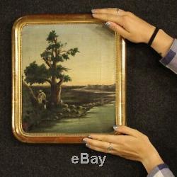 Table Former Italian Landscape Oil Painting On Canvas Frame Hunter 800