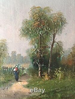 Table Former Nineteenth Barbizon Landscape Peasant On A Path Board Signed Oil