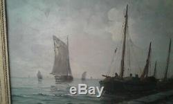 Table Former Oil On Board Fishing Vessels 19th Signed