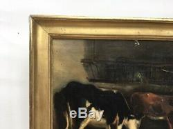 Table Former, Oil On Canvas Cows In The Barn, Gilded Frame, Nineteenth