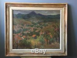 Table Former Oil On Canvas Figurative Auvergne Puy De Dome Art 1961