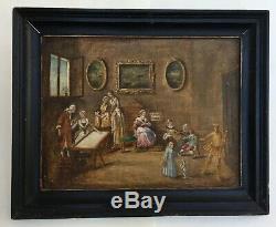 Table Former, Oil On Canvas, Interior Scene, Framed, Xixth