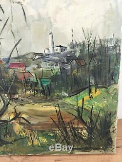 Table Former Oil On Canvas Jean Michel Bermyn (twentieth-s) Headlight Nose Gray