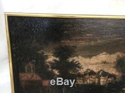 Table Former, Oil On Canvas, Landscape With Village And Religious Sixteenth Time