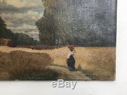 Table Former, Oil On Canvas, Monogram, Harvest Scene