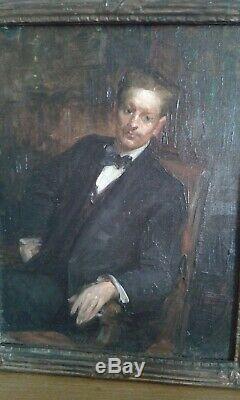 Table Former Oil On Canvas Portrait Elegant Man. French School