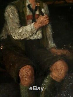 Table Former Oil On Canvas Scene Kind Ignatz Felix Guggenberger Nineteenth