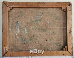 Table Former Oil On Canvas Signed, Provencal Landscape, Garrigue 40s 50