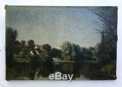 Table Former, Oil On Canvas To Restore, Landscape, Riverside, Late Nineteenth