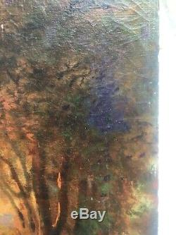 Table Former, Oil On Canvas, Woodland Landscape With Figures, Nineteenth
