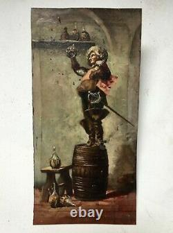 Table Former, Oil On Copper, Musketeer Athos On A Barrel, Nineteenth