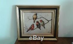 Table Former Oil On Panel 4 Birds Honoré Camos 1906-1991
