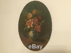 Table Former Oil On Panel, Still Life Bouquet Of Flowers. Sign
