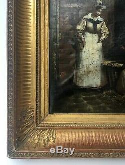 Table Former, Oil On Paper Mounted On Canvas, Old Frame, Nineteenth