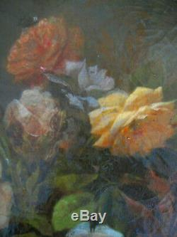 Table Former Oval Bouquet Of Roses Flowers Oil On Canvas Signed Dated Nineteenth