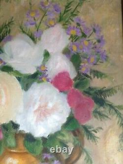 Table Former Post-impressionist Bouquet Of Roses Oil On Canvas C1945