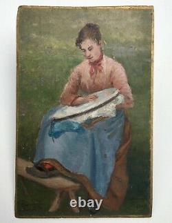 Table Former Signed, Dated 1897, Oil On Panel, Woman Sewing, Nineteenth