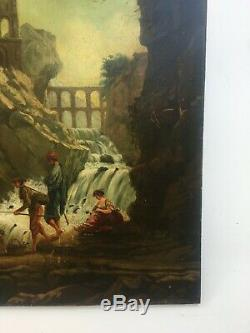 Table Former Signed, Oil On Panel, Moderated Landscape, Roman Ruins Nineteenth