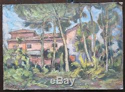 Table In Style Impressionist Painting Oil On Old Table Landscape P16