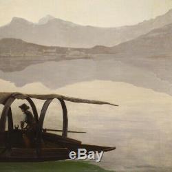 Table Italian Painting Signed Oil On Canvas Landscape Of Lake Como Old Style