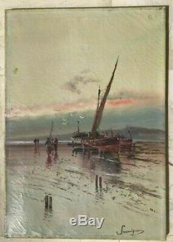 Table Marine Oil On Canvas Signed Pecheurs A Table Legs Old