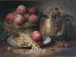 Table Nineteenth Old Oil Painting Still Life With Fruit Highly Decorated Frame