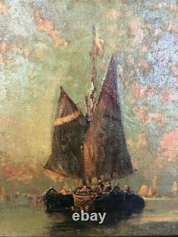 Table Oil On Canvas Ancient Venice Maritime View At Crepuscule