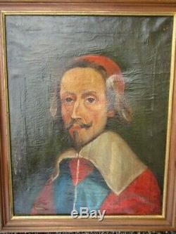 Table Oil On Canvas Former Cardinal Richelieu Old Painting
