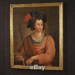 Table Oil Painting Old Hunter Portrait 700 18th Century