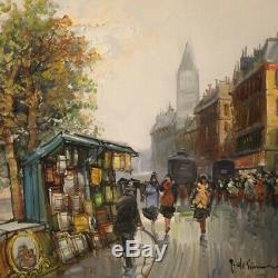 Table Oil Painting On Canvas Landscape Signed For Paris Style Former 900