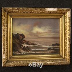 Table Oil Painting On Canvas Landscape With Old Style Navy Frame 900