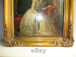 Table Old 1850 About-xix Century-young Girl-oil Painting On Cardboard