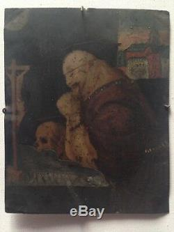 Table Old Eighteenth Oil On Copper Saint Bruno At The Vanity Grande Chartreuse