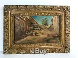 Table / Old Framed Oil On Canvas (village South) 57 CM X 42 CM