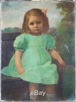 Table Old Girl Sitting On Bench Antique Oil Painting Oil Painting