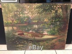 Table Old Hst Landscape Barque Yerres Sur Seine Signed And Dated 1914