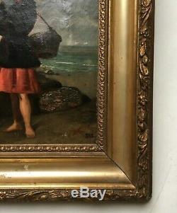 Table Old, Monogram, Oil On Canvas, Framed, Pêcheuse Net, Nineteenth