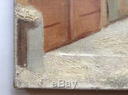 Table Old Naive Art Farmyard Snowy Oil On Canvas An Air Utrillo