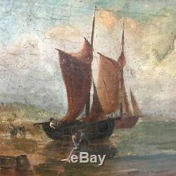 Table Old Navy Normandy Sailing Boat Oil On Toile19ème To Renovate