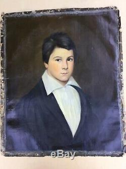 Table Old Nineteenth Portrait Of Young Man Oil On Canvas