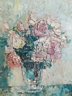 Table Old Oil, Oil On Panel, Bouquet, Montparnasse Framework Akoun