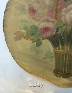 Table Old, Oil On Canvas, Flower Bouquet 2/4, Nineteenth
