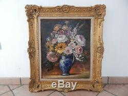 Table Old Oil On Canvas Flowers Signed Rene Lefranc French School Xxth