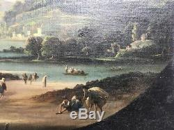 Table Old, Oil On Canvas, Lake Landscape With Figures, Nineteenth