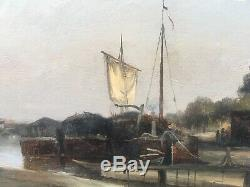 Table Old Oil On Canvas Landscape Barge Canal Lourcq Gabriel Prieur